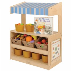 "12 months & up. Toddlers will love role playing social situations at the well designed Toddler Marketplace. This marketplace has beautifully angled shelves to hold bins and display products as well as a flat storage shelf below for additional items. The counter is perfectly sized for toddlers at 18"" and the striped awning adds to the appeal. The clear display window has signs for a pet shop, farmers market, grocery store, and puppet theater. Bins and toys are not included. Measures 36""H x 26""W x 14""D. Assembly required."