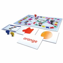 4 - 6 years. Build color recognition and challenge children to match colors, their associated words and representative objects.  Includes a laminated board game with 30 illustrated, self-checking cards, two sets of 30 flash cards and an activity guide. Packed in a convenient zippered storage cloth bag with handle.