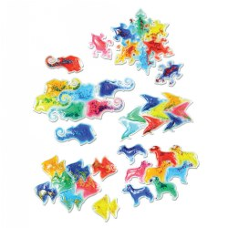 3 years & up. Develop math, color mixing and patterning skills with these squishy, glittery animal shapes in 8 different colors. Animals depicted include elephants, dogs, birds, fish and lizards. Make tessellating lines, blocks or create your own patterns. Practice color mixing by layering differently colored shapes over each other. Great for light table play.