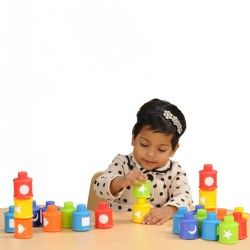18 months & up. This colorful set of 24 Pop 'Em Shapes provides multiple learning experiences for children. The vibrant pieces introduce six colors to enhance color recognition and the shapes printed on each piece allow for the identification of six basic shapes. Fine motor skills are enhanced as children push the pieces together and pull them apart. The learning continues as children sort and match the pieces by shape and color attributes.