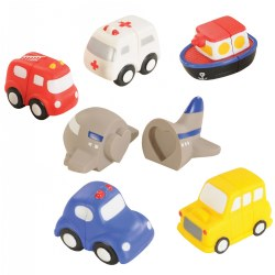 18 months & up. Support fine motor skills in children by adding Vehicle Match-Ups to your selection of toddler toys! This set offers 6 vehicles that children can sort, match, and drive around as a hands-on way to introduce and reinforce shapes, colors, and transportation. The vehicles are comprised of two sections that children can connect together. Each of the vehicles has it's own shape for self-correction: square, rectangle, star, circle, triangle, and heart. Set includes boat, bus, ambulance, airplane, car, and firetruck. Activity cards are also included.