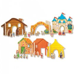 "3 years & up. Creative play and storytelling all rolled into a beautiful set of wooden toys. Children will enjoy hours of open-ended, interactive play while learning about the popular fairy tale characters in this Happy Architect set. Includes 44 total pieces: 12 plywood pieces (largest approximately 10"" and smallest 8"") and 32 wooden character pieces printed front and back. Children can use the interactive design of the houses, huts, bridges, and castle to pretend and play and bring their imaginations to life."