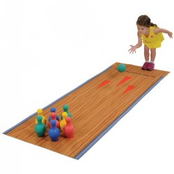 2 years & up. Bring a bowling lane to the classroom! Bowling is the perfect way to support gross motor skills, and it's also a great activity for indoor recess. The set includes a children's bowling playmat printed on rubber-backed polyester material, eight pins, and two foam bowling balls.