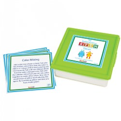 "This set of 52 interactive STEM ideas will provide caregivers with a year's worth of weekly STEM activities for young children. These simple and straightforward ideas are enjoyable for families and children alike, and they're a great way to promote STEM activities for toddlers. Cards measure 5"" x 5"" and store in a sturdy plastic container."