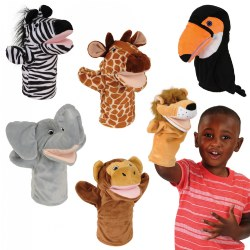 18 months & up. Realistically represented animals from the jungle. Children will enjoy role playing and making each animal sound. Set of 6 puppets include zebra, giraffe, toucan, elephant, monkey, and lion.