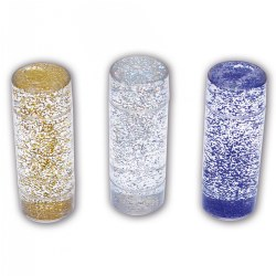 "3 years & up. Set of three large cylinders containing gold, silver, and blue glitter in clear liquid. Turn them over to observe the sensory glitter storm. Measures 5.5"" x 2"" each."