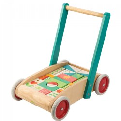 "18 - 36 months. Made from high quality wood, this walker helps develop balance, strength, and encourages creative play. Includes 29 garden themed wooden blocks for creative construction. Walker size is 16.34"" x 11.22"" x 16.54""."