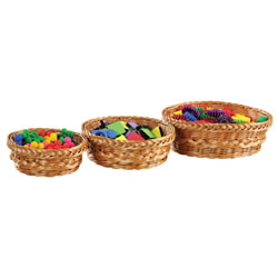 Image of Round Wicker Baskets - Set of 3