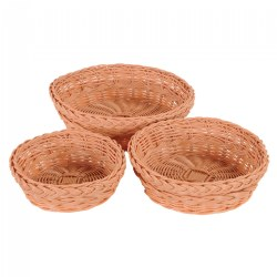 Round Wicker Baskets - Set of 3