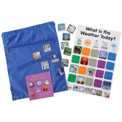 3 years & up. Children match the colorful photograph tiles to the correct word cards in the Weather Game. Each weather formation consists of 4 tiles with colorful actual photographs. The activity mat allows children to place the proper tile with the correct word and picture. Each weather image has color around the photograph to help children recognize the correct image. There are 5 different stages of weather and each one consists of 4 different images. There are a total of 2 different ways this game can be played and each one involves interactive play along with an easy-to-follow format.