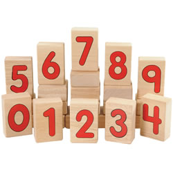 3 years & up. A cross-curricular approach for extending early math skills to your block area. These multi-purpose wooden blocks feature bold, red numbers from 0-9. Add interest to block play while building number recognition. 10 block set. (Alphabet blocks are not included in this set.)