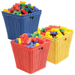 Medium Plastic Wicker Basket (Each)