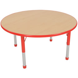 "Nature Color Chunky 48"" Round Table 15-24"" Adjustable Legs - Red"