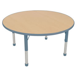 "Nature Color Chunky 48"" Round Table with 21-30"" Adjustable Legs - Light Blue"
