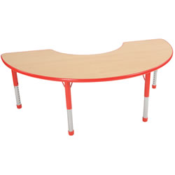 "Nature Color Chunky 36x72 Half Moon Table 15-24"" Adjustable Legs - Red"