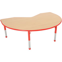 "Nature Color Chunky 48x72 Kidney Table 15-24"" Adjustable Legs - Red"