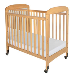 Serenity Fixed-Side Clearview Compact Crib with Mirror - Natural