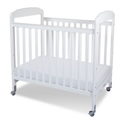 Serenity Fixed-Side Clearview Compact Crib with Mirror - White