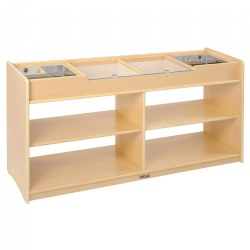 "3 years & up. Children can show off their projects, examine up close and display their exhibits easily with this exploration table. There are four compartment areas with 2 acrylic sliding panels that cover fragile nature collections and two removable mirror reflection boxes that insert into each end of the display areas. Shelf storage is accessible from both sides of the table to allow easy access for additional supplies. 24""H x 47""L x 14""D. Accessories are not included."