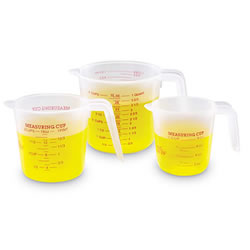 Grades K & up. Set of 3 cups with handles marked in ounces and milliliters. Includes cup (8 oz./250 ml), pint (16 oz./500 ml) and quart (32 oz./1000 ml) measures.