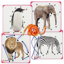 "Realistic Zoo Animal Images on 6"" Lacing Boards - Set of 4"