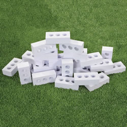 "3 years & up.  Build to ""ice"" structures year round with this fantastic collection of realistic pretend ice bricks! This 25-piece set of lightweight, weather-proof foam ice blocks stack easily for endless creative building projects. Bricks measure 8""L x 3 1/2""W x 2""D."