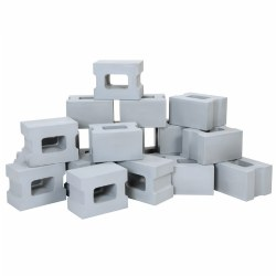 "3 years & up. Build to new heights with this fantastic collection of realistic pretend cinder blocks! Whether you are building a skyscraper or designing your new home, the possibilities are endless. This 25-piece set of lightweight, weather-proof foam cinder blocks stack easily for endless creative building projects and harrowing adventures. Perfect size for encouraging gross motor development. Bricks measure at 8""L x 3 1/2""W x 2""D."