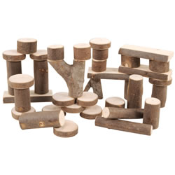 3 years & up. Made of natural maple branches, these kiln-dried blocks are durable and will hold up in any classroom. They are cut to standard measurements and will make a great addition to block play. 36 pieces in a cloth storage bag.