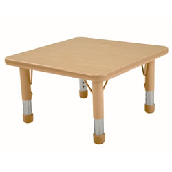 "Nature Color Chunky 24x24 Square Table with 15-24"" Adjustable Legs - Seats 4"