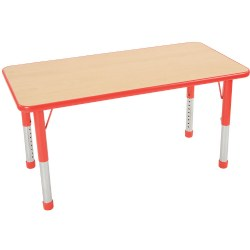 "Nature Color Chunky 24x36 Rectangle Table with 15-24"" Adjustable Legs - Red"