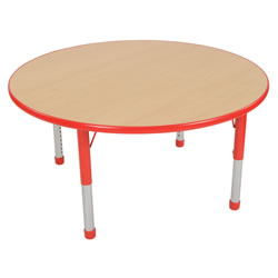 "Nature Color Chunky 42"" Round Table with 15-24"" Adjustable Legs - Red"