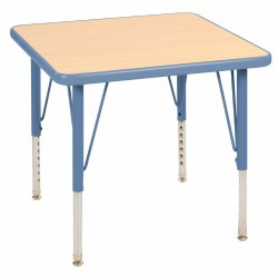 "Nature Color 24x24 Square Table with 21-30"" Adjustable Legs - Light Blue"