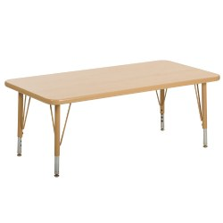 "Nature Color 24x36 Rectangle Table with 21-30"" Adjustable Legs (Seats 4)"