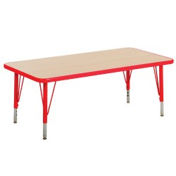 "Nature Color 30x48 Rectangle Table with 21-30"" Adjustable Legs - Red"