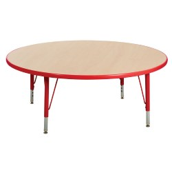 "Nature Color 42"" Round Table with 21-30"" Adjustable Legs - Red"