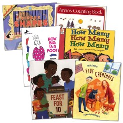 3 years & up. These story books make math concepts like shapes, counting, and colors fun when they are blended with rhythm, rhyme, and repetition along with colorful illustrations. A sure way to develop math skills with books that take a creative approach to teaching basic math concepts. Set of 6 paperback books.