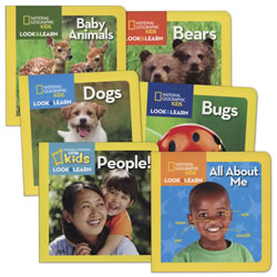 National Geographic Look and Learn About Animals and People Board Books - Set of 6