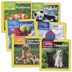 National Geographic Look and Learn about Concepts Board Books - Set of 6