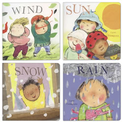 12 months & up. Each board book is beautifully illustrated, showing children playing in different types of weather environments. Set of 4 books. English.
