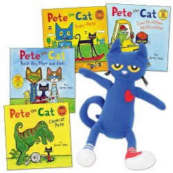 Pete the Cat Doll and 4 Paperback Book Set
