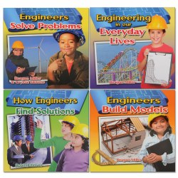 4 years & up. Many things we use everyday were designed by engineers. These exciting books show ways to explore the connections between engineering, science, math and technology and how their ideas affect us in our day-to-day lives. Set of 4 paperback books.