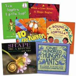 3 - 7 years. Young children are aware of basic concepts related to shapes and counting, but it is important to build math skills by encouraging them to explore and compare shapes and counting on a daily basis. These 6 books will do just that.  Perfect for the math center in your classroom.