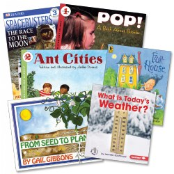 Grades 1 - 2. Students explore STEM concepts behind how things work from math, weather, life cycles, and space -- to name a few subjects offered in this book set. Students will think creatively, learn new facts and understand important topic which embrace the standards, benchmarks, and objectives of the class. Includes 6 paperback books.