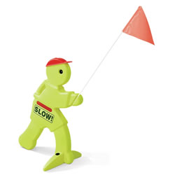 "Children at play safety mannequin. Stands 32"" and holds 39"" tall red warning flag to caution motorists and sets boundaries for children. Fluorescent body and reflector strip belt is visible during twilight hours. It's easy to position and simple to assemble."