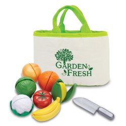"2 years & up. Children will enjoy these ""peel-able"" fruits and veggies. Slice them apart with the safe, plastic knife and then Velcro® them back together again and start all over! Canvas shopping tote is included for storage."