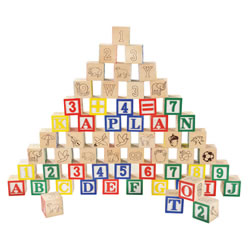 2 years & up. Stack, build, count and spell with these 100 colorful blocks. Each featuring a variety of pictures, letters and numbers. Storage box.