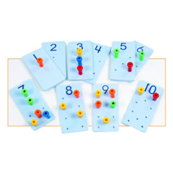 "4 years & up. Introduce number concepts to preschoolers with these 4"" x 8""  high quality pegboards and 60 easy to grip plastic pegs. This simple but terrific item can be used to teach number facts, counting, number recognition, beginning addition and subtraction, number relations, sequencing and color recognition, and it even helps develop fine motor skills!"