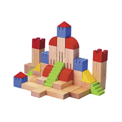 3 years & up. Stir children's imaginations and stimulate their love for creating things with this set of 46 Creative blocks. With the multitude of shapes included, the combinations that can be created are endless. Possibilities include a town, a castle, and many other ideas.