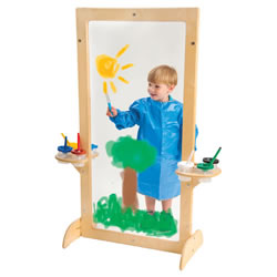 See-Thru Easel - Clear Acrylic Board - Birch Frame with Attached Paint Cup Holders
