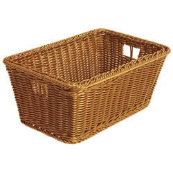 "These baskets have wire sides and a hand grip for easy carrying. Extremely durable and completely washable. Measures 5 3/8""H x 12 3/8""L x 8 1/8""W. Woven plastic wicker."